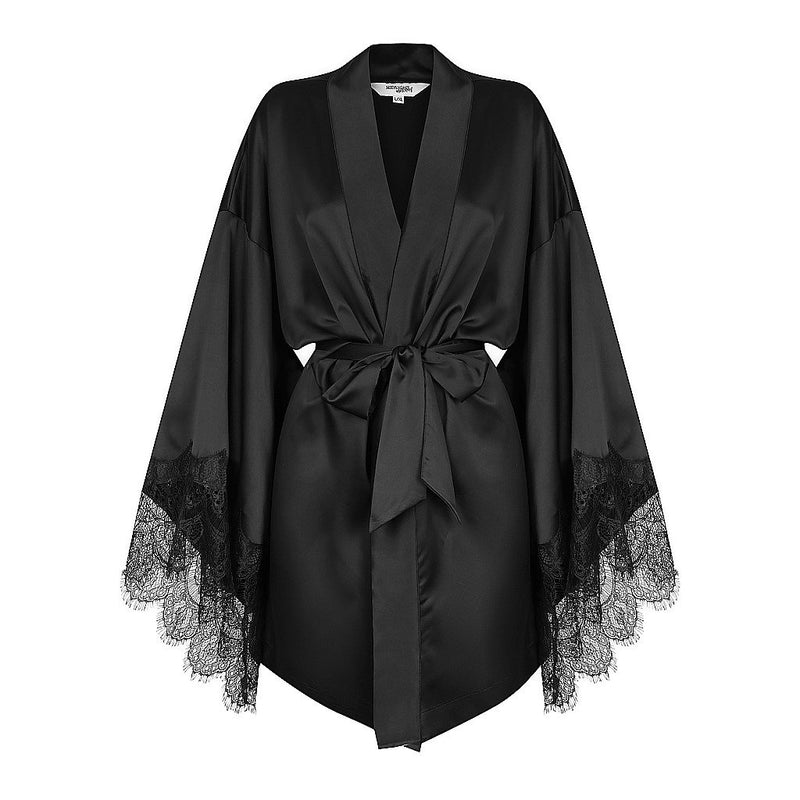 Luxe Personalised Black Lace Short Robe - Black Lace Details