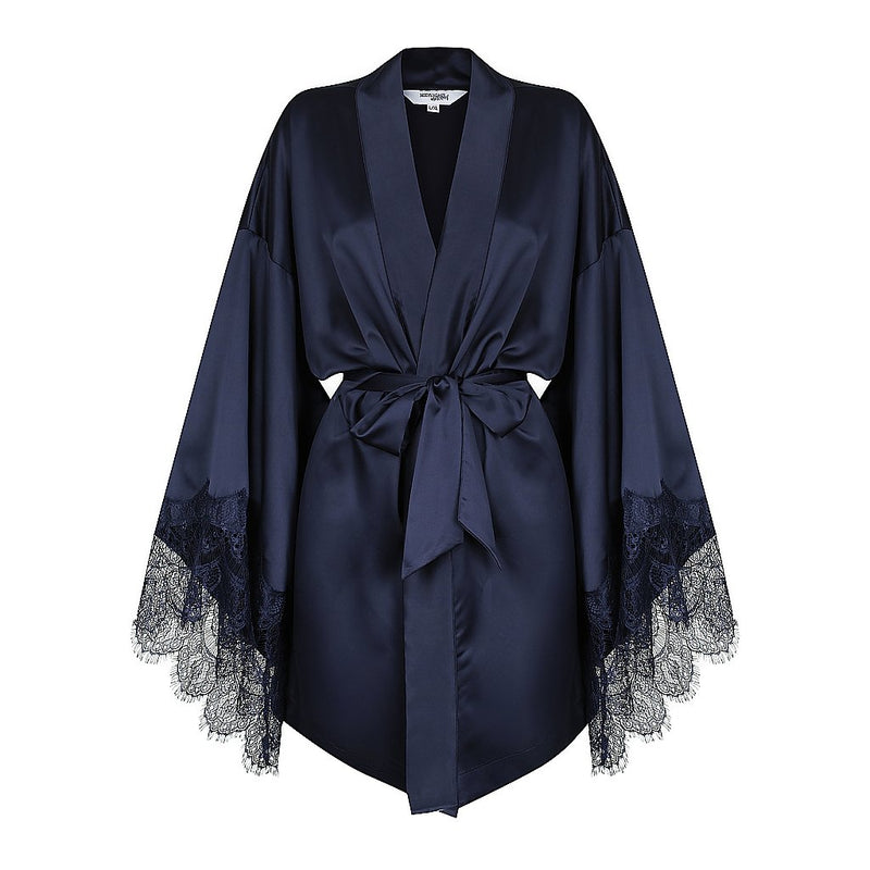 Luxe Personalised Navy Lace Short Robe - Navy Lace Details
