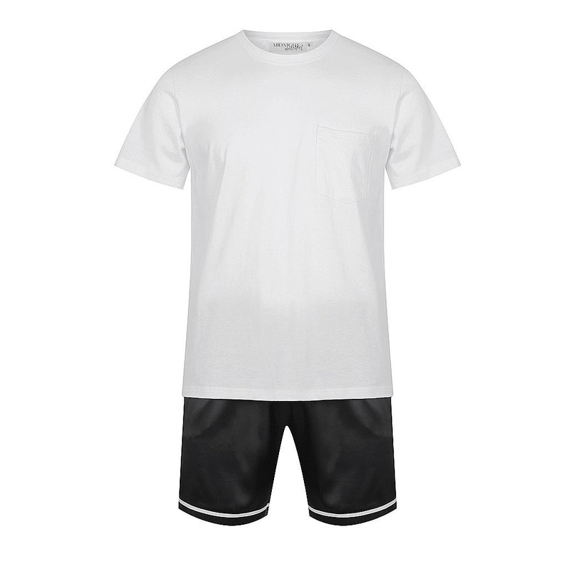 Personalised Men's Set - Luxe Personalised Shirt with Black Satin Shorts