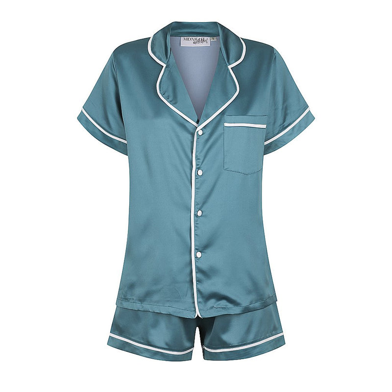 NEW Luxe Satin Personalised Pyjama Set - Short Sleeve Teal Blue/White