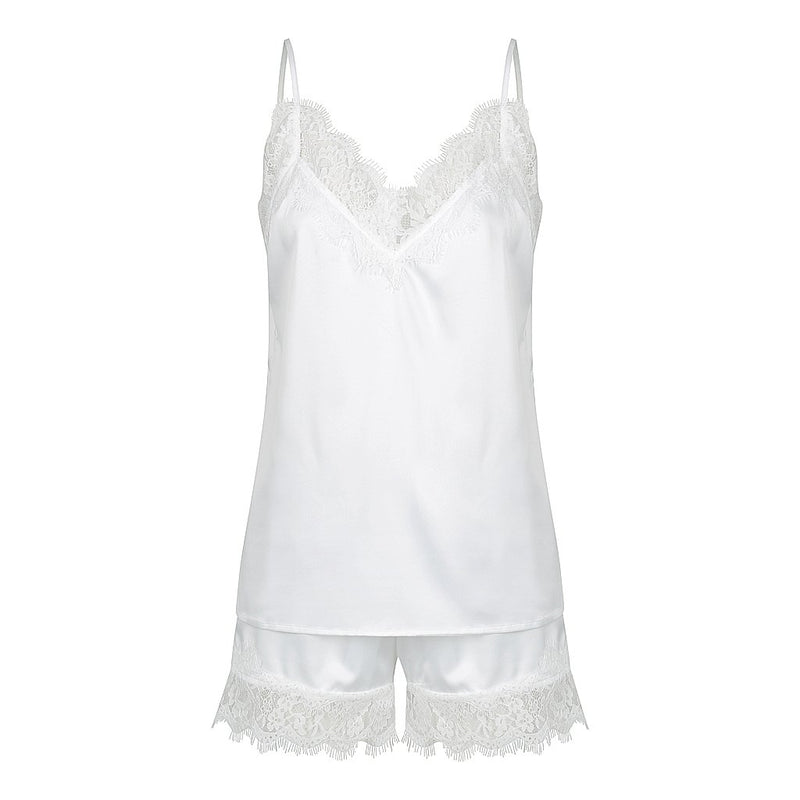 Luxe Personalised Lace Camisole Set - White