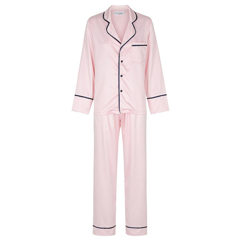 Kids Luxe Personalised Satin Pyjama Set - Long Sleeve with Long Pants Pink/Navy