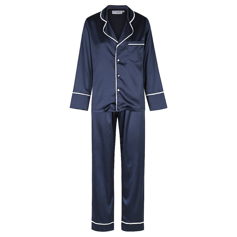 Kids Luxe Personalised Satin Pyjama Set - Long Sleeve with Long Pants Navy/White