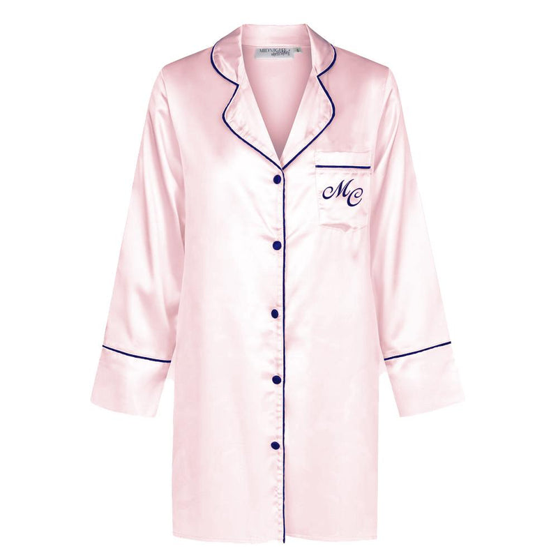 Luxe Personalised Boyfriend Shirt - Pink/Navy