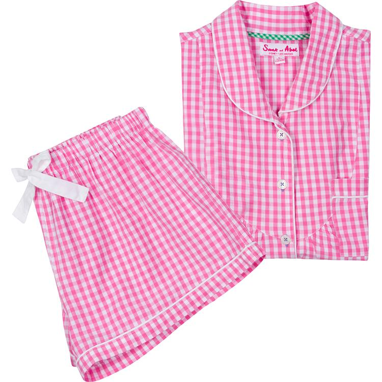 Women's Hepburn Gingham Pink Short PJ Set