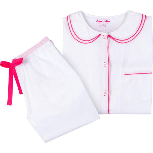 Girls White Cambric Long Sleeve PJ Set