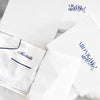 Luxe Personalised Pyjama Winter Set - Long Sleeve & Long Pants White/Navy