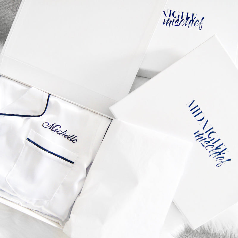 Luxe Personalised Pyjama Set - Long Sleeve White/Navy