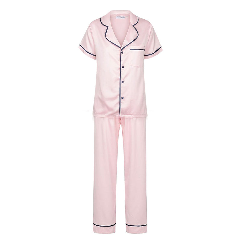 Luxe Personalised Pyjama Winter Set - Short Sleeve & Long Pants Pink/Navy