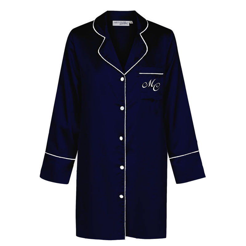 Luxe Personalised Boyfriend Shirt - Navy/White