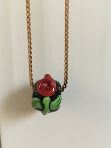 Hand Flamed Glass Beads - Rose