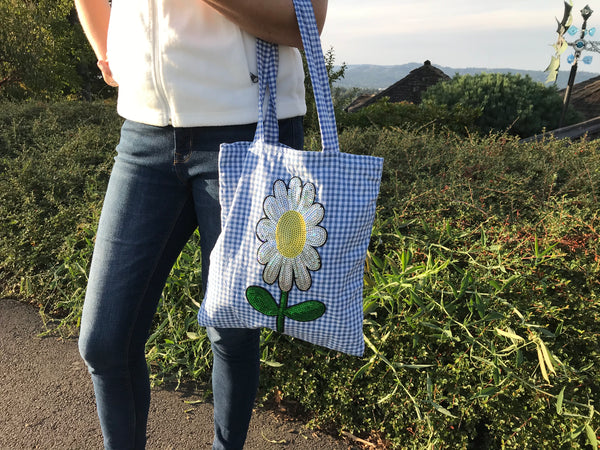 Gingham Daisy Tote Bag