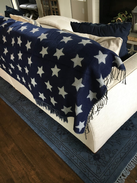 Navy Star Throw