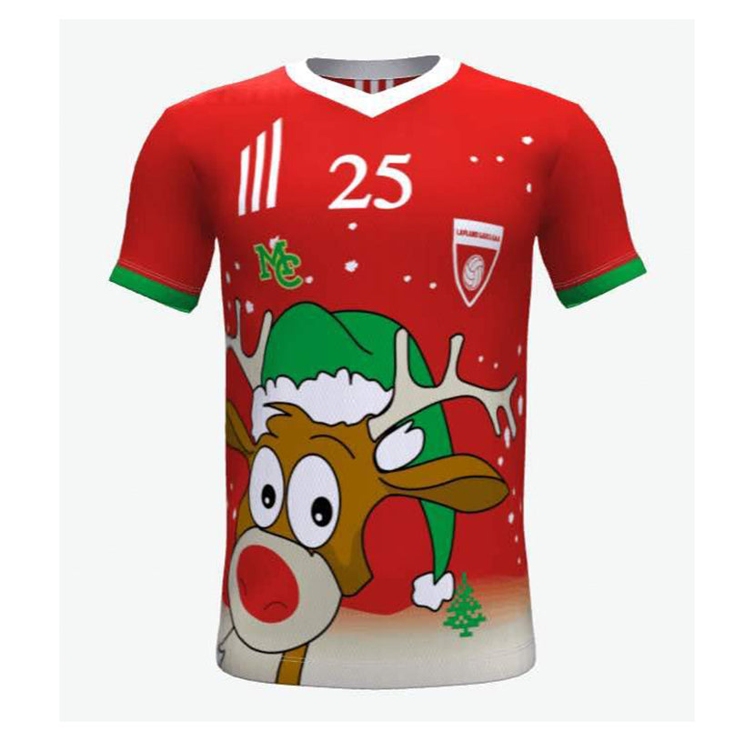 SOCCER Jersey Christmas - Lapland Rovers Jersey- V Neck- Red -Rudolf