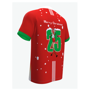 SOCCER Christmas Jersey- Lapland Rovers- Red W/green Cuff Sleeve- Rudolf-round Neck