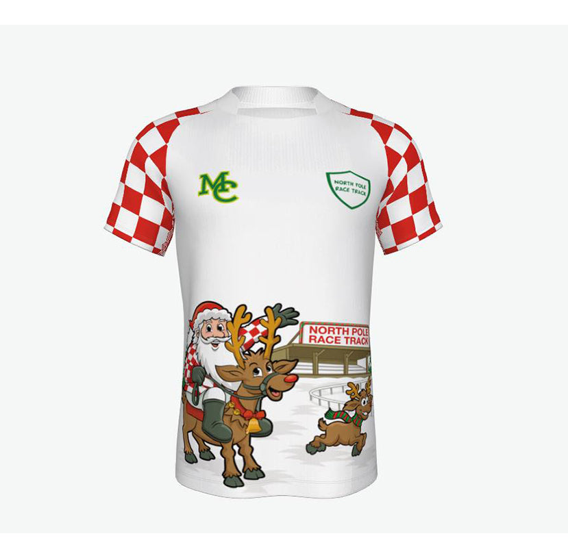 Horse Racing Christmas Jersey- North Pole Race Track - White