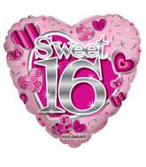 Pink heart shaped sweet 16 balloon