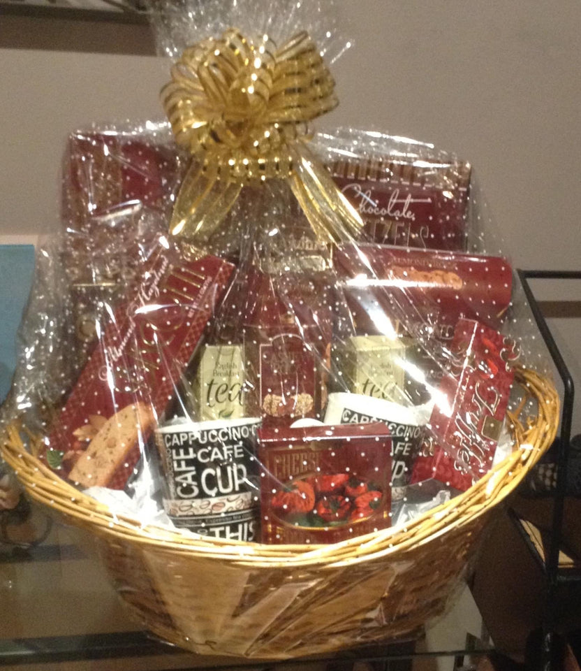 Beautiful custom wrapped gift basket