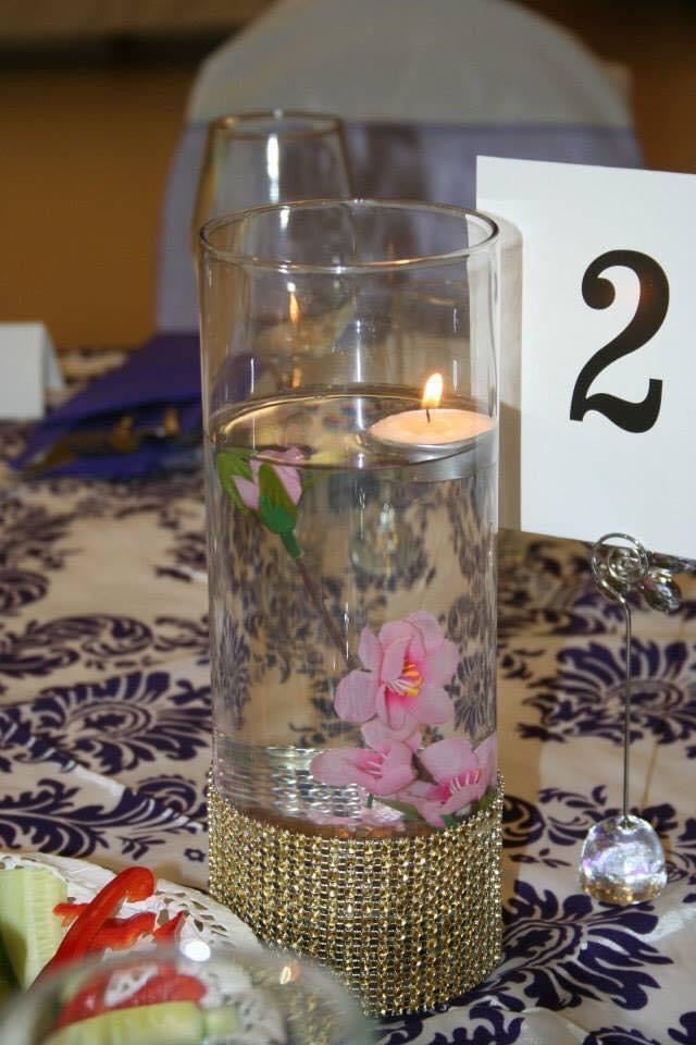 Candle table decoration at event
