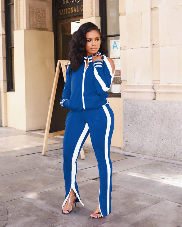 Off Shoulder Long Sleeve Sports Two-piece Set