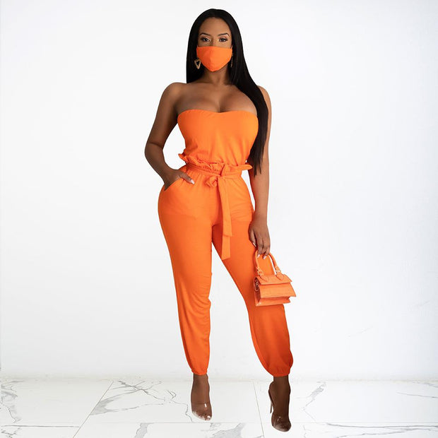 Sexy Solid Color Bandeau Tops and Long Pants Two-piece Set