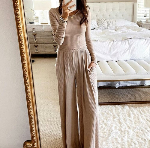 O-neck Long Sleeve Slim Crop Top and Wide-leg Pants