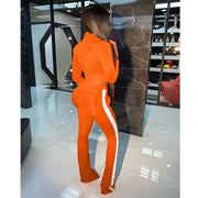 Women Full Sleeve Crop Top +leggings Sporty Matching Set Casual 2