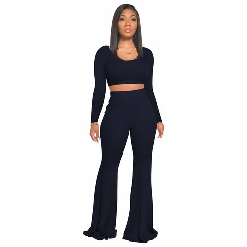 sports long sleeve tops and flare pants