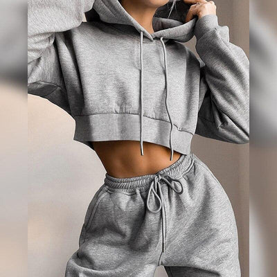 Women Set Autumn Winter Long Sleeve Crop Top Hoodie And Panta Joggers