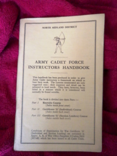Army Cadet Force Instructors Handbook North Midland District - Old Curiosity Bookshop