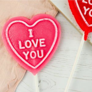 "Set of 2 Heart Shaped ""I love you"" Lollipops"