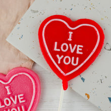 "Load image into Gallery viewer, Set of 2 Heart Shaped ""I love you"" Lollipops"
