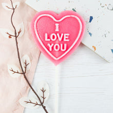 "Load image into Gallery viewer, Raspberry Gin - ""I love you"" Heart Shaped Lollipop"