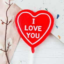"Load image into Gallery viewer, Strawberry Prosecco - ""I love you"" Heart Shaped Lollipop"