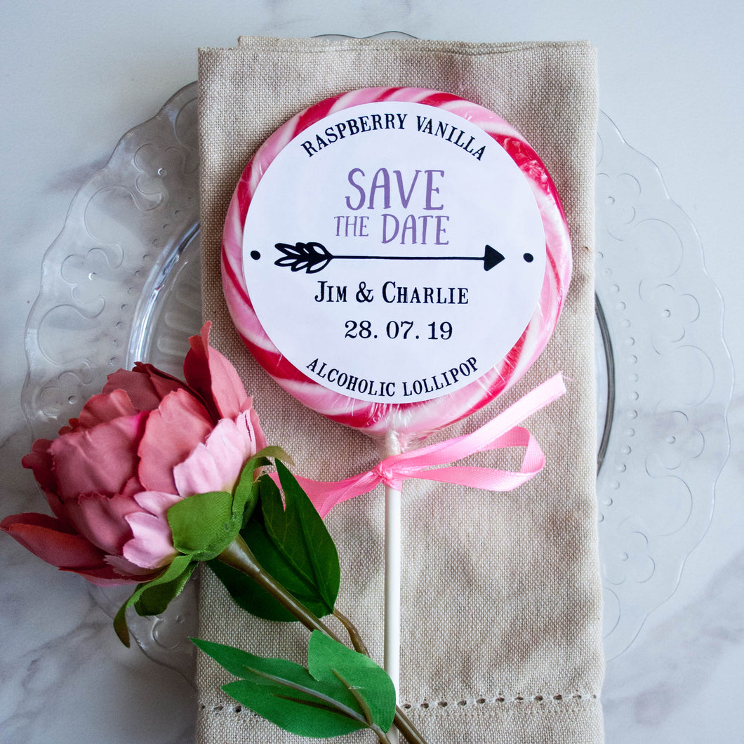 Save the Date 'Arrow' Giant Wedding Lollipops