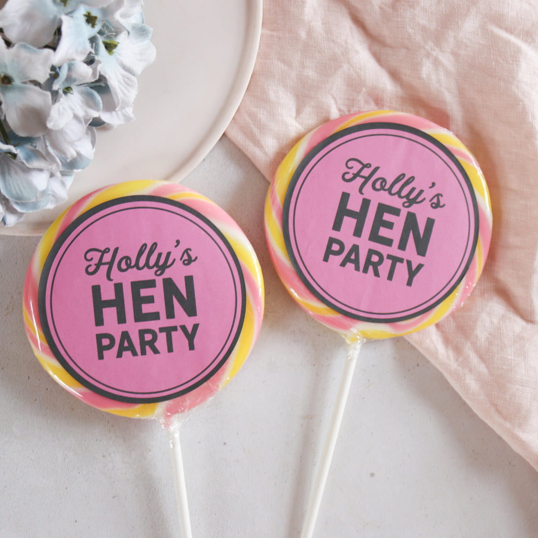 Bold Pastel Hen Party Giant Lollipops