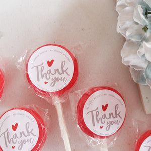 Thank You Wedding Favour Lollipops