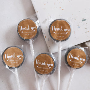 Kraft Style Thank You Gift Wedding Favour Lollipops