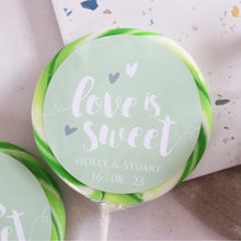 Load image into Gallery viewer, Love Is Sweet Pastel Wedding Favour Giant Lollipops