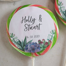 Load image into Gallery viewer, Succulent Themed Wedding Favour Giant Lollipops