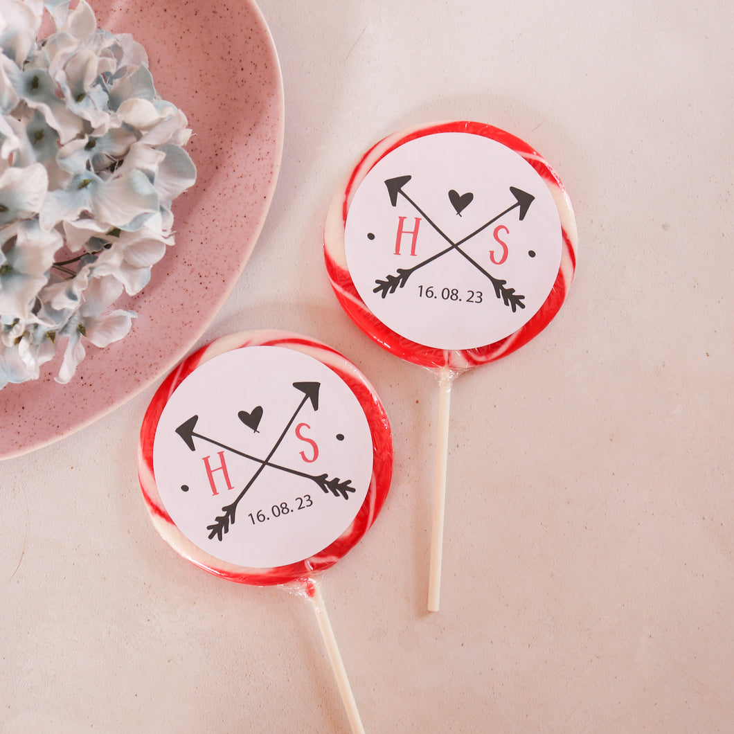 Initials Wedding Favour Giant Lollipops