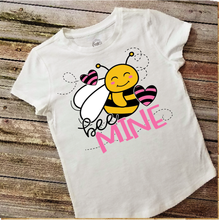 Load image into Gallery viewer, VALENTINE'S DAY - Bee Mine - YOUTH SIZE - Full Color Transfer - PRE-SALE - SHIPS IN 7-10 DAYS - PACK OF 10