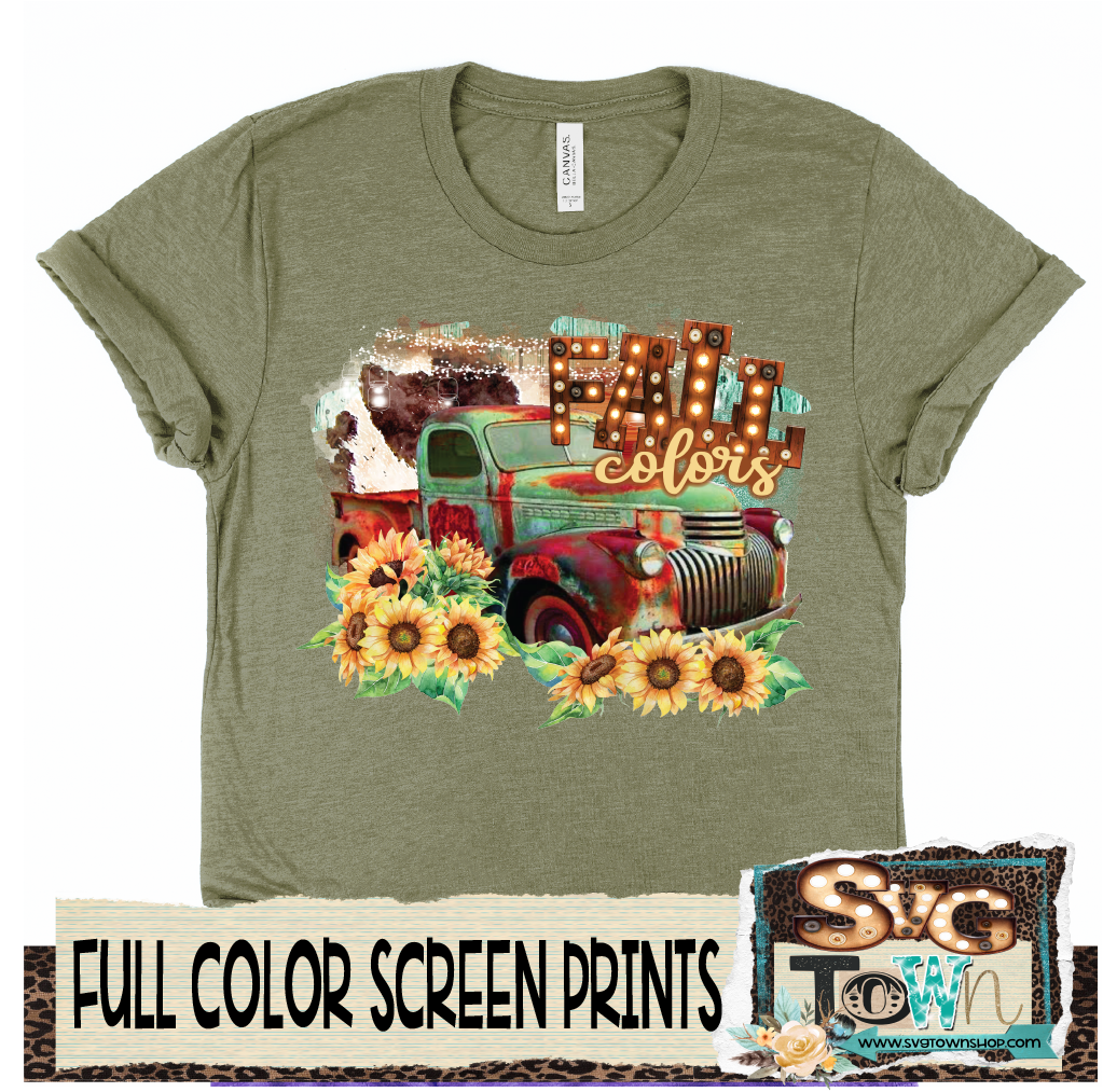 Fall Colors Truck  -  Full Color Transfer -  Ready to Ship - Ships Next Day