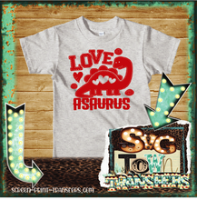 Load image into Gallery viewer, VALENTINE'S DAY -YOUTH SIZE - Love Asaurus - IN STOCK - READY TO SHIP - SHIPS NEXT DAY