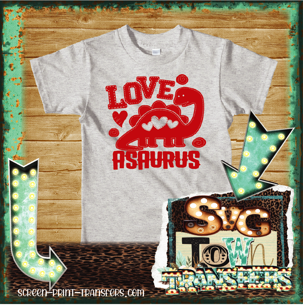 VALENTINE'S DAY -YOUTH SIZE - Love Asaurus - IN STOCK - READY TO SHIP - SHIPS NEXT DAY