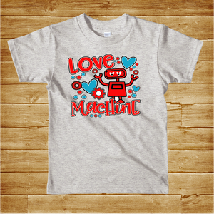 VALENTINE'S DAY  -YOUTH SIZE  - Love Machine - Full Color Transfer - PRE-SALE - SHIPS IN 7-10 DAYS - PACK OF 10