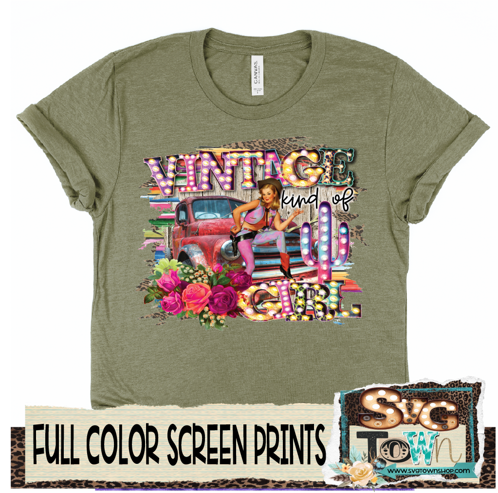 Vintage Kind of Girl   -  Full Color Transfer -  Ready to Ship - Ships Next Day