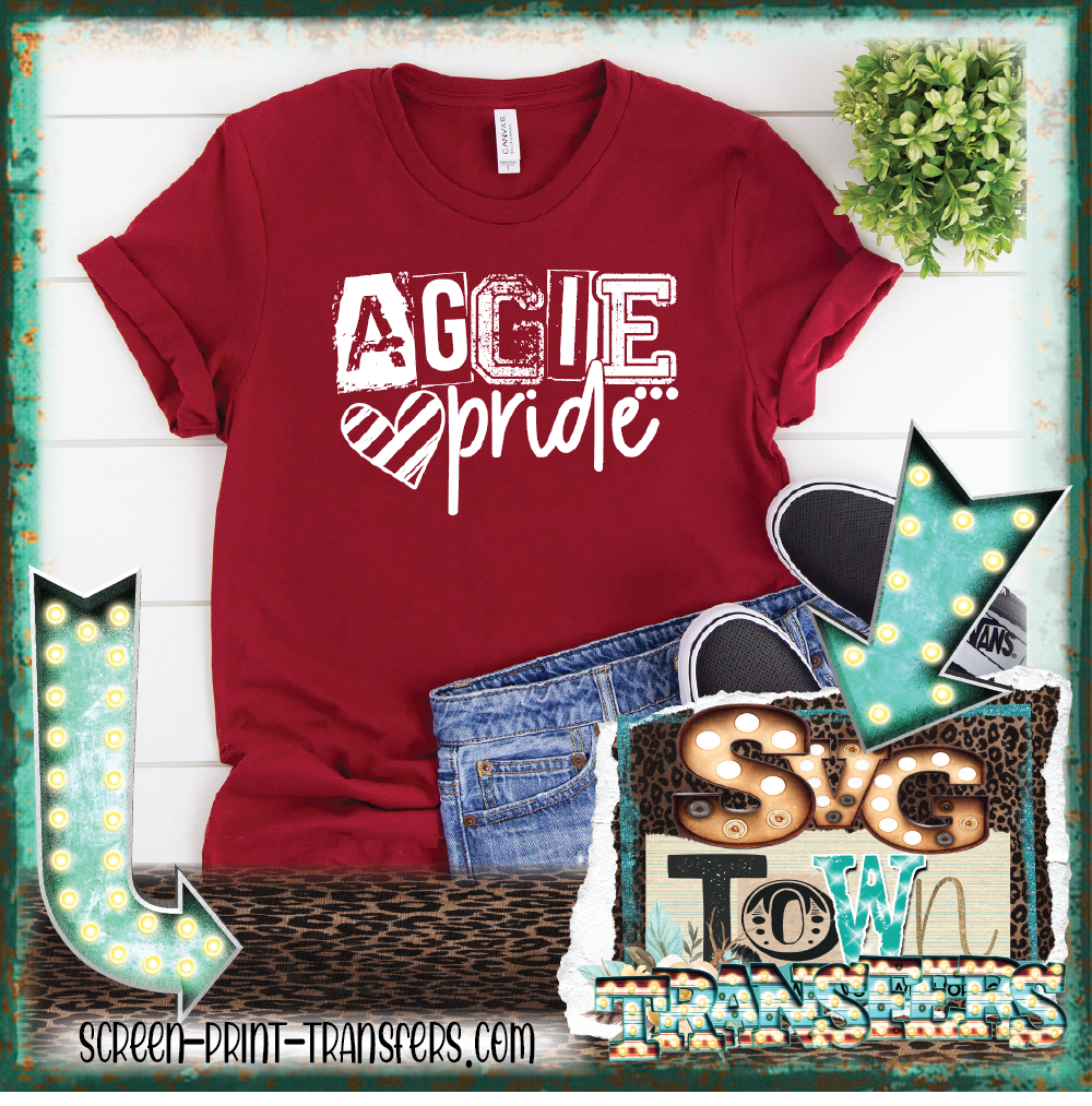AGGIE PRIDE - WHITE  - READY TO SHIP - IN STOCK - SHIPS NEXT DAY