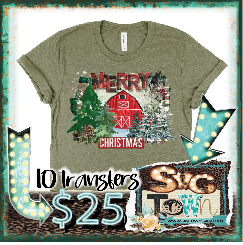 RESTOCK - Christmas Barn -  Full Color Transfer -  PRE-SALE - SHIPS IN 10-14 BUSINESS DAYS - PACK OF 10