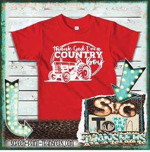 THANK GOD I'M A COUNTRY BOY - TRACTOR - YOUTH SIZE - PRESALE - SHIPS IN 7-10 DAYS